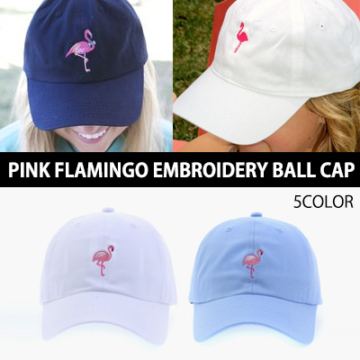 PINK FLAMINGO EMBROIDERY BALL CAP