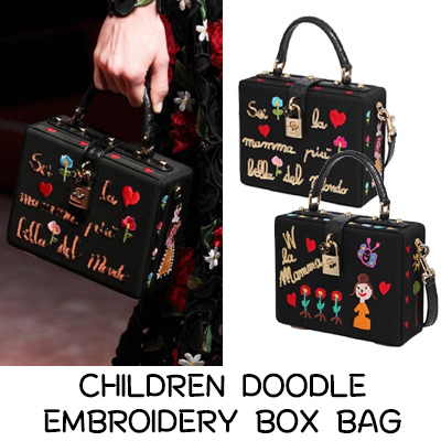 CHILDREN DOODLE EMBROIDERY BOX BAG
