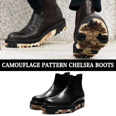 [24.0~29.0cm] WIDTH&INSOLE'POSSIBLE TO CUSTOMIZE ORDER'★CAMOUFLAGE PATTERN CHELSEA BOOTS