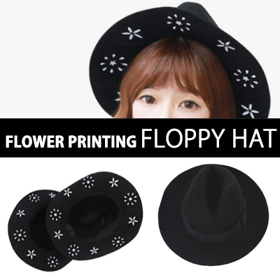 UNIQUE WHITE POINT! FLOWER PRINTING FLOPPY HAT