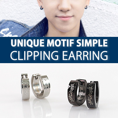 [K-POP IDOL SEVENTEEN STYLE] UNIQUE MOTIF SIMPLE CLIPPING EARRING