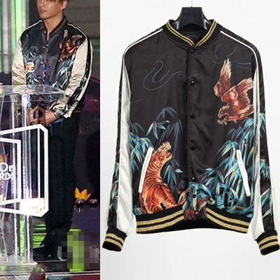 ★SPECAL PRICE★BIGBANG SOL STYLE! Eagle Tiger print satin Sukajan _ Bomber _ blouson _2015 Melon Music Awards_ the Big Bang _ Taeyang _ Kanye West