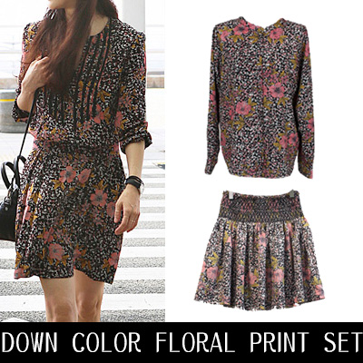 [PURCHASE AS A SET AND GET 5% OFF]DOWN COLOR FLORAL PRINT SET
