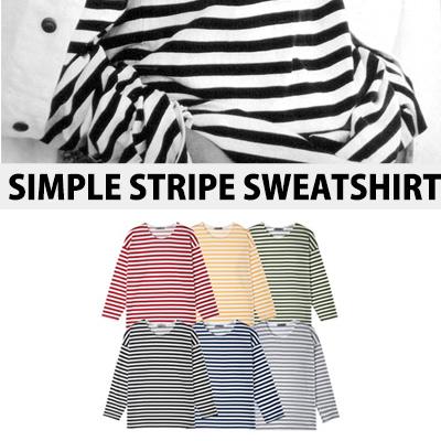[BASIC SIMPLE LINE]SIMPLE STRIPE SWEATSHIRTS
