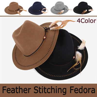 FEATHER STITCHING FLOPPY HAT