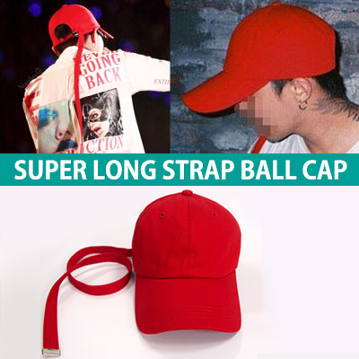 ★Prompt delivery★BIGBANG GD STYLE★SUPER LONG STRAP RED COTTON BALL CAP/ G-DRAGON