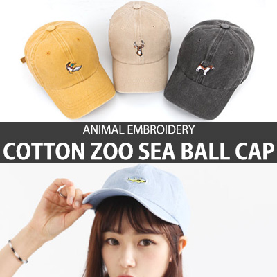 ANIMAL EMBROIDERY COTTON ZOO SEA BALL CAP