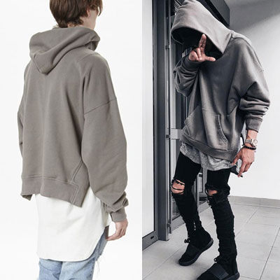 SIDE CUTTING OVER FIT PULLOVER HOOD