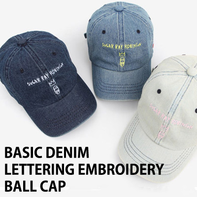 BASIC DENIM LETTERING EMBROIDERY BALL CAP