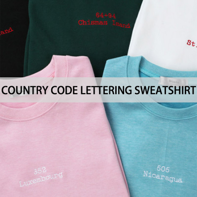 [BASIC SIMPLE LINE]COUNTRY CODE LETTERING SWEATSHIRTS