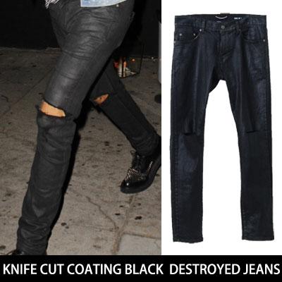 KNIFE CUT COATING BLACK DESTROYED JEANS