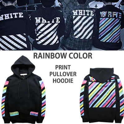 IKON/EXO FASION STYLE!RAINBOW COLOR PULLOVER HOOD PARKA