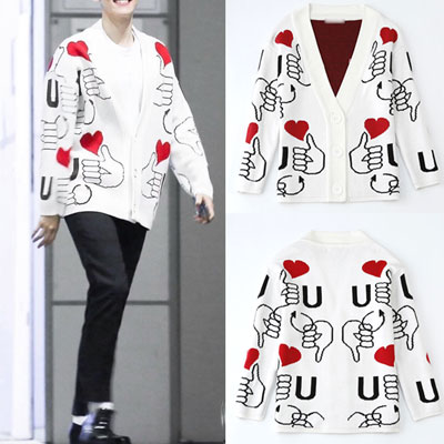 ★S~XL SIZE★WOMEN/MENS SIZE★EXO STYLE! HAND&HEART PATTERN CARDIGAN