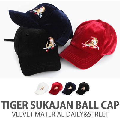 VELVET MATERIAL TIGER SUKAJAN BALL CAP