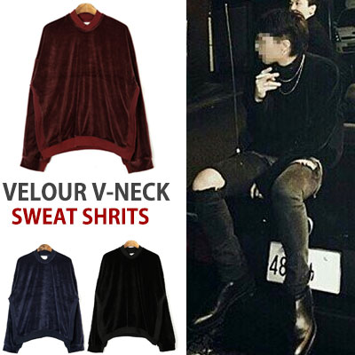 BIGBANG G-DRAGON KANYE WEST STYLE!VELOUR V-NECK SWEAT SHIRTS(WINE,NAVY,BLACK)