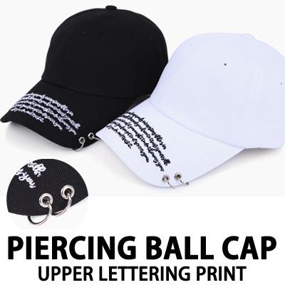 PIERCING BALL CAP UPPER LETTERING PRINT