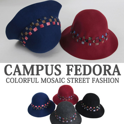 CAMPUS FEDORA COLORFUL MOSAIC STREET FASHION