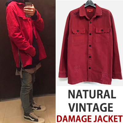 SIDE ZIPPER POINT VINTAGE DAMAGE WASHING JACKET