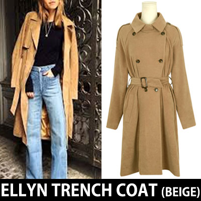 (BEIGE)SIMPLE CLASSIC ELLYN TRENCH COAT