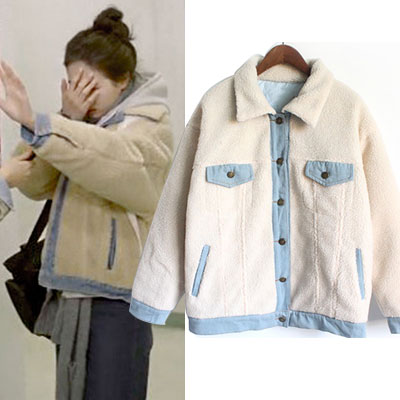 KOREAN DRAMA[affectionately without reason]SUZY STYLE! FLEECE DENIM JACKET(S,M,L)/MISS A/
