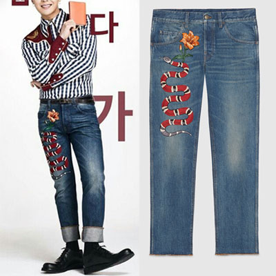 G-DRAGON STYLE! SNAKE & FLOWER PATCH DENIM JEANS