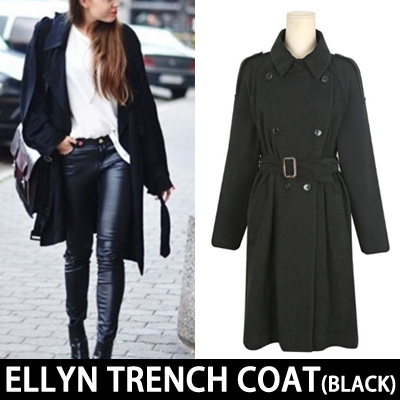 (BLACK)SIMPLE CLASSIC ELLYN TRENCH COAT