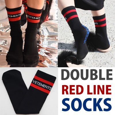 DOUBLE RED LINE SOCKS