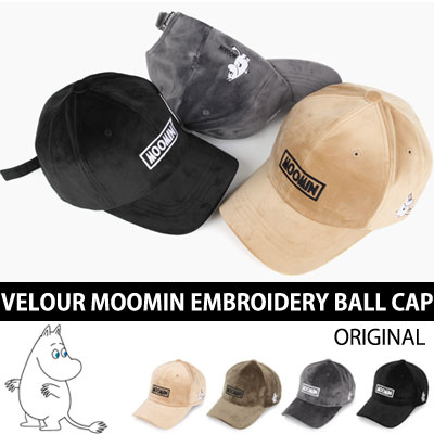 VELOUR MATERIAL MOOMIN EMBROIDERY BALL CAP