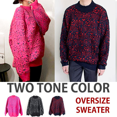 TWO TONE COLOR OVERSIZE SWEATER
