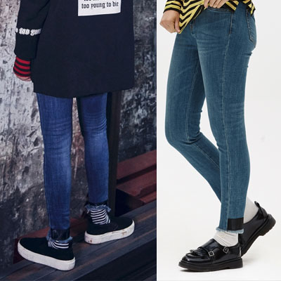 [8 X GD's PICK (Original)]LEATHER PATCH DENIM PANTS