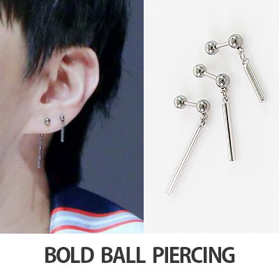 (1EA)[K-POP IDOL VIXX LEO STYLE]BOLD BALL&LONG BAR PIERCING
