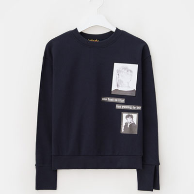 [8 X GD's PICK (Original)]Navy Print Sweat Shirts
