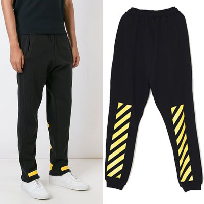 YELLOW SIGNATURE POINT PANTS/BLACK,GREY