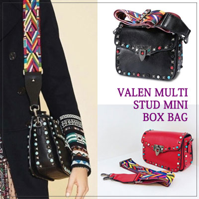VALEN MULTI STUD MINI BOX BAG/cowhide/strap set