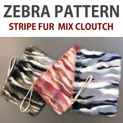 ZEBRA PATTERN STRIPE FUR MIX CLOUTCH BAG