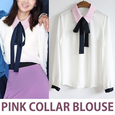 K-DRAMA JEALOUSY INCARNATE STYLE BABY PINK COLLAR POINT RIBBON BLOUSE