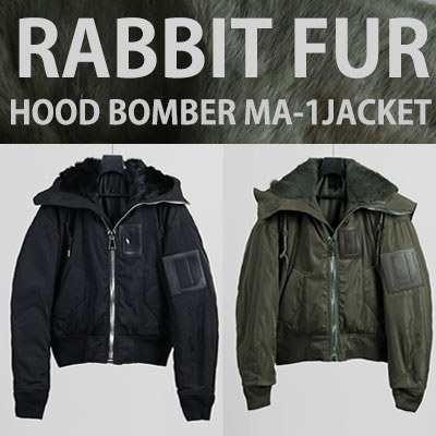 RABBIT FUR HOOD BOMBER MA-1 JACKET