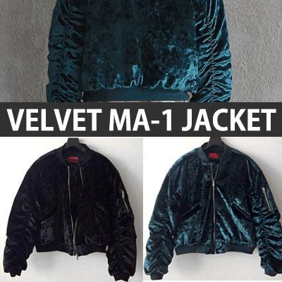 SHINING VELVET MA-1 JACKET/BLACK,GREEN