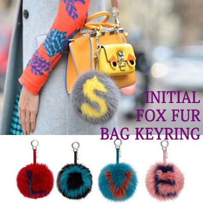 INITIAL FOX FUR BAG KEYRING/13TYPE