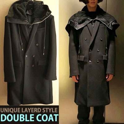 UNIQUE LAYERD STYLE! DOUBLE COAT
