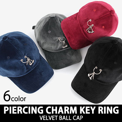 PIERCING CHARM KEY RING VELVET BALL CAP