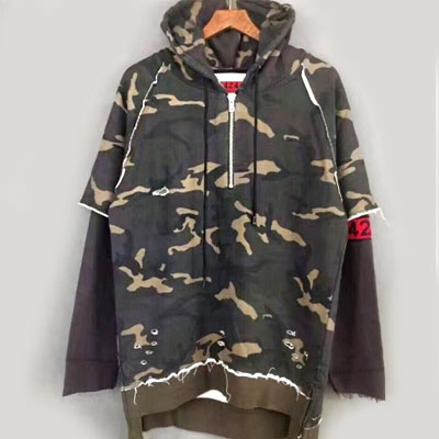 NUMBER BAND POINT CAMO HOOD