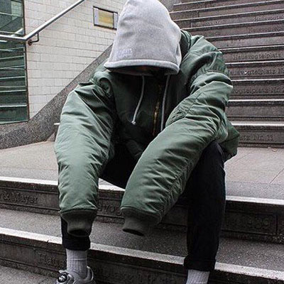 DUCK DOWN 100%/OVER SIZE HOOD MA-1 JACKET
