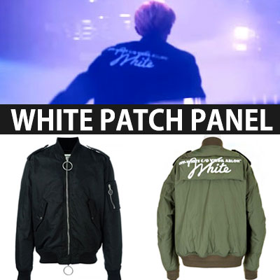 EXO STYLE!WHITE PATCH PANEL MA-1 BOMBER JACKET