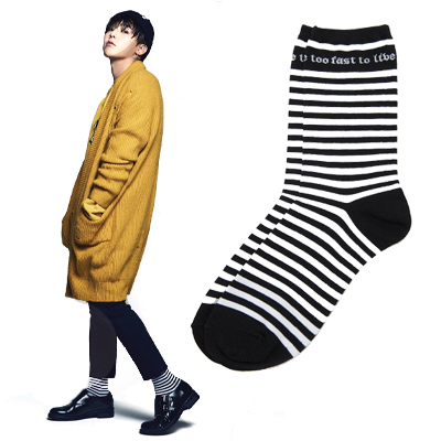 2016 FW [8 X GD's PICK]GD Black Stripe Socks G-Dragon GD G-DRAGON Colaboration 8SECONDS
