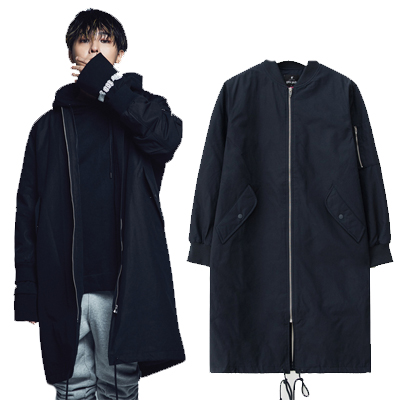 2016 FW [8 X GD's PICK]Navy Long MA-1 Bomber - G-Dragon GD G-DRAGON Colaboration 8SECONDS