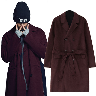 2016 FW [8 X GD's PICK]Belted Cashmere Coat - G-Dragon GD G-DRAGON Colaboration 8SECONDS