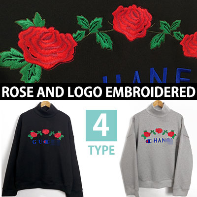 ROSE AND LOGO EMBROIDERED SWEATSHIRTS