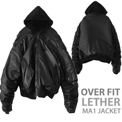 OVER SIZE LEATHER HOODIE MA-1 JACKET