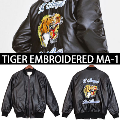 6OZ.TIGER EMBOIDERED LETHER MA-1 JACKET